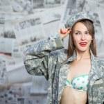 Retro army military pinup girl — Stock Photo #51391311