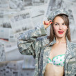 Retro army military pinup girl — Stock Photo #51391311