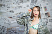 Retro army military pinup girl — Photo
