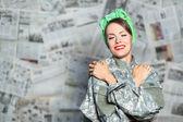 Sexy mujer soldado — Foto de Stock