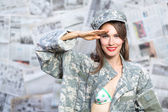 Pinup army girl — Stock Photo
