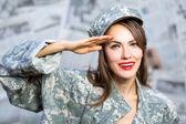 Army military girl — Stock Photo