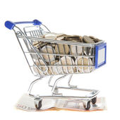 Shopping cart Euro notes and euro coins isolated on white — Stock Photo