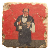 Hand painted tile of waiter and wine — Stock Photo