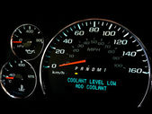 Coolant level low warning light — Stock Photo