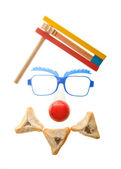 Clown face Purim arrangement with Hamentashen — Stock Photo
