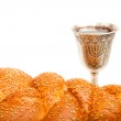 Challah and Kiddush cup — Stock Photo #43085415