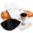 Challah Kiddush cup and Yarmulke — Stock Photo #43085527
