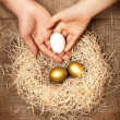 Men and women hands putting white egg to nest with golden eggs — Stock Photo #41713065