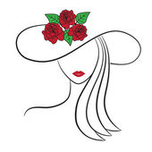 Woman in a hat — Vector de stock