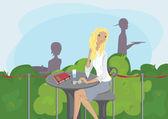 Garota no café — Vetor de Stock