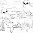 Seals - coloring book - Illustration — 图库照片