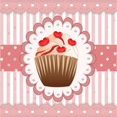 Candy cupcake on the pink background — Vector de stock