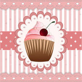 Cupcake on the pink background — Stock Vector