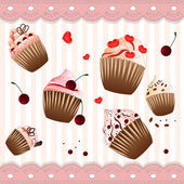 Cupcake on the strip pink  background — Vettoriale Stock