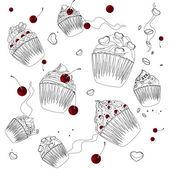 Beyaz zemin üzerine cupcake — Stok Vektör