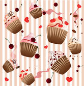 Cupcake on the strip pink  background — Stock Vector