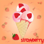 Strawberry icecream on the orange background — Stock vektor