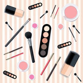 Isolated beautiful cosmetics and brushes for women — Stock Vector
