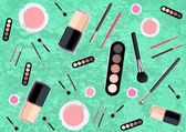 Isolated beautiful cosmetics and brushes for women — Wektor stockowy