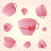 Cupcake and cup on the  stripped pink background — Stock Vector