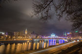 White House and Moscow River Embankment at Night — Stockfoto
