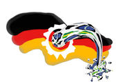 German flag and football — Stock Photo