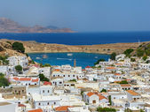 Rhodes - Greece. View on the beautiful bay of Lindos — Stock Photo