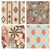 Set of scottish and floral seamless pattern — Stock Vector