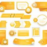 Set of orange vector progress, version, step icons. eps 10 — Stock Vector