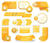 Set of orange vector progress, version, step icons. eps 10 — Stock Vector