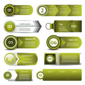 Set of green vector progress, version, step icons. eps 10 — Stock Vector