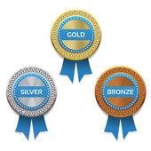 Gold, silver and bronze awards. Vector. eps 10 — Stock Vector