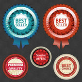 Best seller and choice labels with ribbon. eps 10 — Stockvector