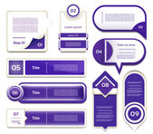 Set of blue-violet vector progress, version, step icons. eps 10 — Cтоковый вектор
