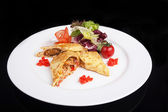 Rodillo con pollo y verduras — Foto de Stock