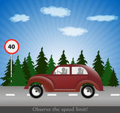 The car moves on the carriageway. — Stock Vector