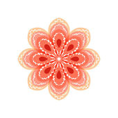 Red flower with decorative patterns. — Stock Vector
