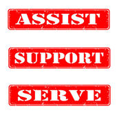 Assist,support,serve — Stock Vector