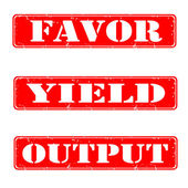 Favor,yield,output — 图库矢量图片