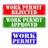Stamps work permit — Stock Vector