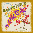 Abstract background with the text happy hour written inside, vector illustration — Stock Vector