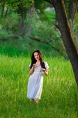 Portrait  asian  girl  nature — Stockfoto