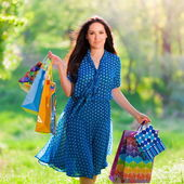 Portrait  asian girl with pack shopping — Stok fotoğraf