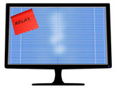 Monitor with venetain blind and message — Stock Photo