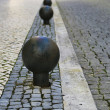 Metal round barrier in stone street — Stock Photo #41945877
