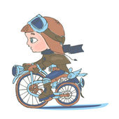 Baby riding on a motorcycle — Stockvektor