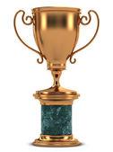 金杯站在大理石的立场上 — 图库照片