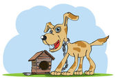 Watchdog stands near his house. Vector illustration — Stock Vector