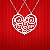 Valentines Day Heart on Red Background. — Stockvektor